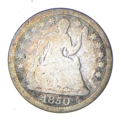 5c *1/2 Dime HALF* 1850 Seated Liberty Half Dime - Early American Type Coin *863