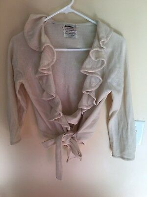 Vintage 1950s Cashmere Ruffle Ballet Wrap Style Cardigan Sweater Small As Is