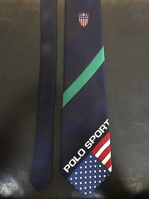 Vintage Polo Sport Ralph Lauren Silk Tie USA american Flag Shield Pwing Bear