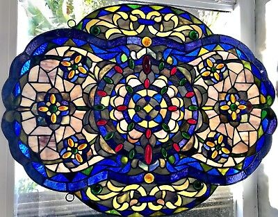 """24"""" Slag Tiffany ? Leaded STAINED GLASS ARTS CRAFTS Antique Light Shade Window"""