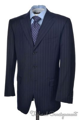 ERMENEGILDO ZEGNA Recent Blue Striped Trofeo Wool Jacket Pants SUIT Mens - 40 R