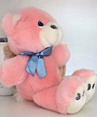 """Precious Moments July Ruby Pink Bear """"1997"""" w/ Birth Certificate & Heart Frame"""