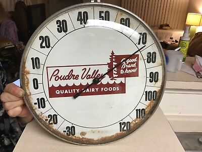 Vintage Poudre Valley Quality Dairy Foods Thermometer Glass and Chrome Outdoor