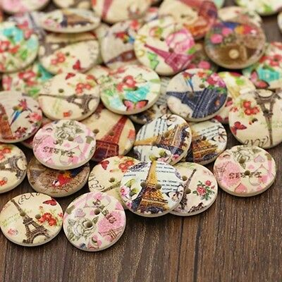 Flower DIY Sewing Fashion Scrapbooking Wooden Buttons 2 Holes Eiffel Tower