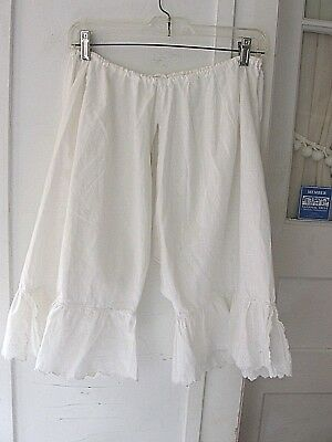 "VINTAGE 1890-1900s EMBROIDERED VICTORIAN PANTALOON BLOOMERS ""PARIS"" OPEN CROTCH"