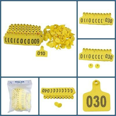 Pack Of 100 Large Plastic Animal Livestock Ear Tag Labels For Cow Cattle Yellow