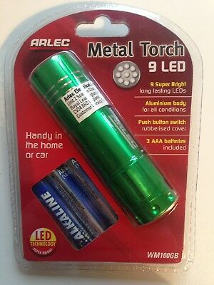 Arlec Metal 9 LED Torch - Green Flashlight Compact