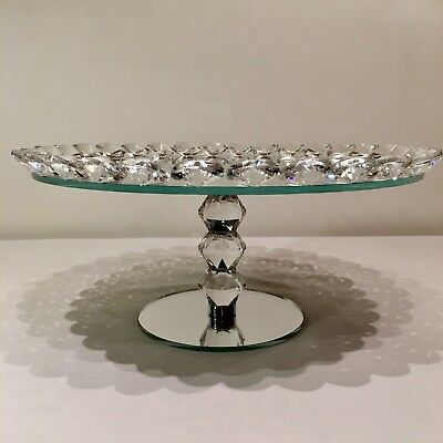 Crystal Mirror vintage Furniture Cake Stand Fruit Plate 2 3 tier glass Wedding
