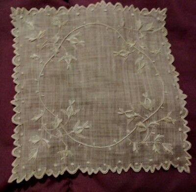 """2 Beautiful Appenzel or Madeira Very Finley Embroidered Linen Doilies  4 1/2"""""""