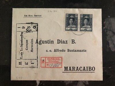 1930 Curacao First Flight Registered cover FFC to Maracaibo Venezuela
