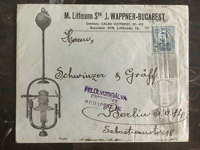 1914 Bucharest Romania Commercial Censored Cover To Berlin Germany