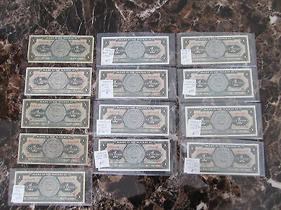 Lot of 13 One Peso Currency Bills Mexico # 59J D