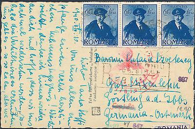 1940 Romania Censored Postcard Cover to Germany