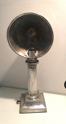 an antique silver plate nurses lamp. candlestick, reeded column