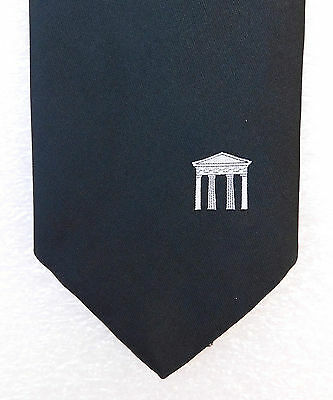 Vintage corporate tie Black Red White stripes and emblem County Club c 1980s