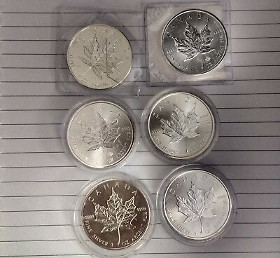 6 x Mixed Date Canadian Maple 1 oz Silver Coins Bullion 9999