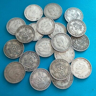 job lot of 20 pre 47 shillings 50% silver,good condition,(111.2 grams weight).