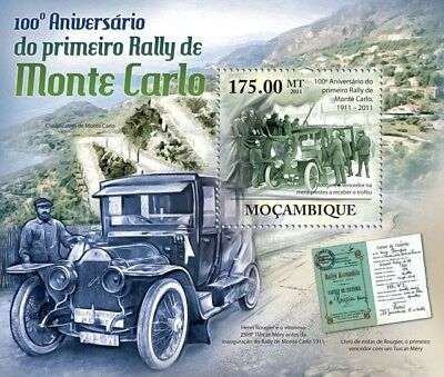 1911-2011 MONTE CARLO Car Rally Anniversary Race Stamp Sheet #2 (Mozambique)