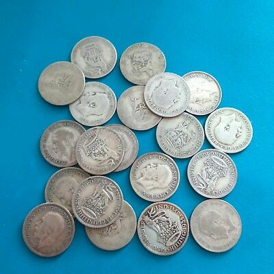 job lot of 20 pre 47 shillings 50% silver , George V ,(108.6 grams weight).