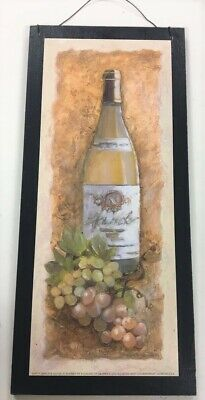 Chardonnay white wine grapes Kitchen wood Wall Art Sign bar drinking tuscan