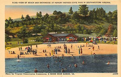 MARION VA HUNGARY MOTHER PARK ELEVATED VIEW BEACH & BATHHOUSE POSTCARD c1940s