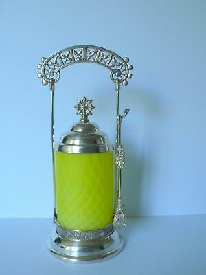 Antique Quadruple Silverplate Pickle Castor Yellow Quilted Satin Glass Meriden?