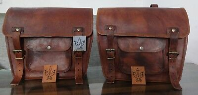 """Motorcycle Saddlebags 1Pair Brown Leather Pouch Panniers Design By Jasol 10""""x13"""""""