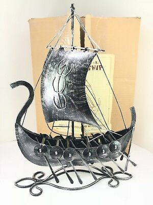 Old Viking Boat Model Ship Hand Sculptured And Metal Crafted