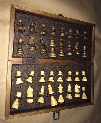 Vintage Wooden Marble Travel Chess Set With Hand Carved Pieces