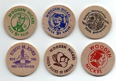 (6) Pennsylvania - Bangor, 1975 (Centennial) Wooden Nickel Tokens Set not Maine