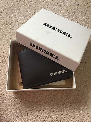 Brand New Never Used Unwanted Gift Diesel Dark Brown Leather Men's Coin Wallet
