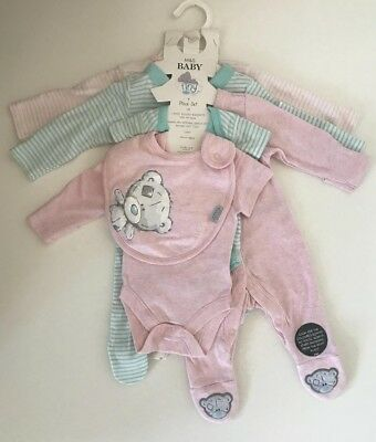 M&S BABY Tiny Tatty Girl Cotton 7 Part Set Babygrow ME TO YOU 3-6 Months NEW