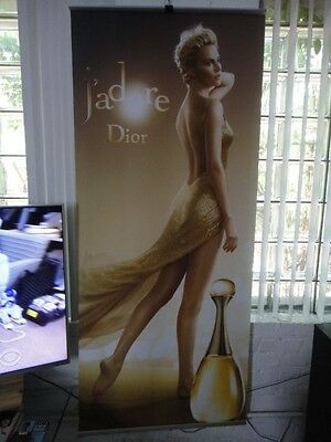 """Rare Christian Dior J'adore Charlize Theron Fabric Banner 74"""" X 31.5"""" Poster #1"""
