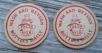 Vintage Milk Bottle Caps (2) From Southwest Texas - Wash and Return Daily