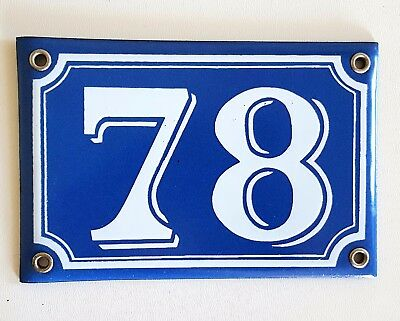 Vintage French Blue Enamel Porcelain Door House Gate Number Sign Plate 78
