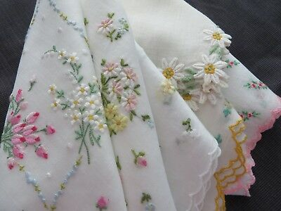 Lot 6 Vtg Antique Hankie Handkerchief ALL Tiny Embroidered Floral & Edges 50s