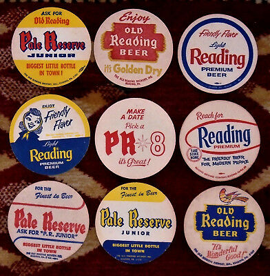 "9 Different  Reading  3 1/2"" Beer Coasters Free USA Shipping"