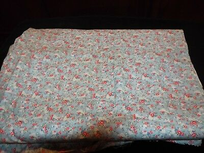 1/2 Yd Vintage Novelty Quilt Fabric Chairs Rakes Roses on Blue