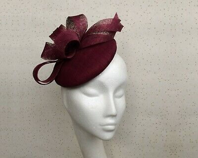 Burgundy Wedding Fascinator Wine Fascinator Pillbox Dark Red Ascot Maroon Hat
