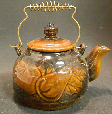 """Vintage Embossed Japanese Red Clay Tea Pot Brass Handle 6"""" x 5"""" Excellent Cond"""
