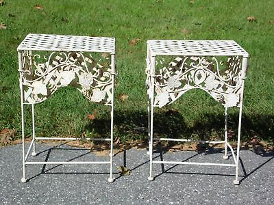 Vintage Pair Mid Century Italian Tole Metal Ivy Leaves Wrought Iron Patio Tables