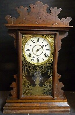 Antique Welch Walnut Wooden Gingerbread Chime Clock w/ Stenciled Glass Door VG