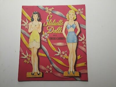 Vintage UNCUT 1942 Statuette Dolls Paper Doll Cut-Out Book Whitman Publishing Co