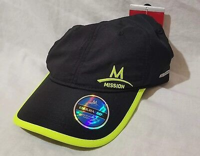Mission Enduracool Instant Cooling Performance Hat Cap Black High Vis Green