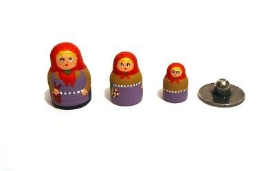 Russian Girl Doll Hand Painted Thimble Pewter 3 in 1 Collectible Thimble Gift