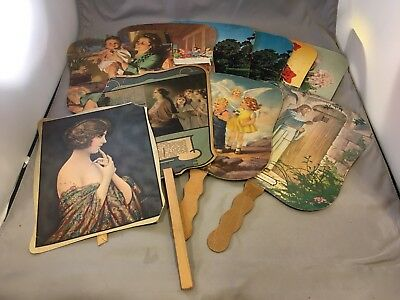Vintage Paper Advertising Fans lot of 10 Funeral Homes Ads and More