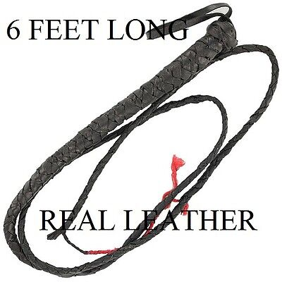 Brand New 6' Leather Bull Whip , Horse Whip, Cattle Whip, Etc. Free Shipping !!