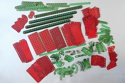 Vintage MECCANO job lot of RED and GREEN parts 1.5kg - good/very good condition