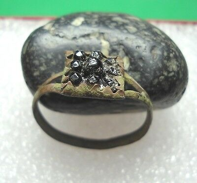 Ancient Roman Bronze Ring with Stone Original Authentic Antique Rare R464