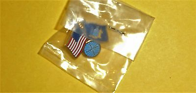 New York State Pan Am Airlines Usa Double 2 Flag Uniform Lapel Hat Service Pin